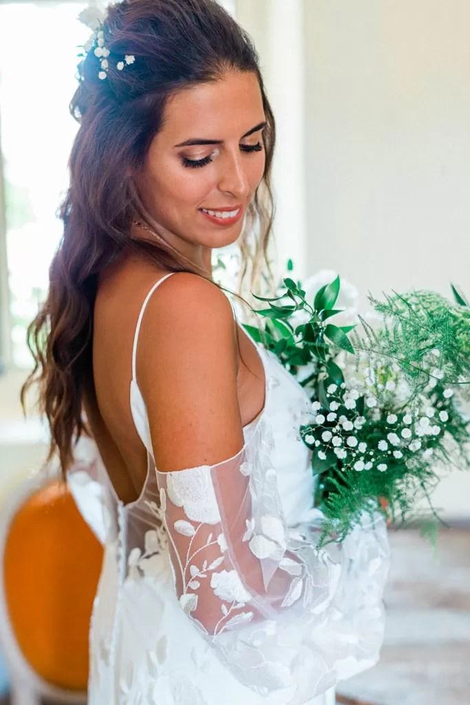 mariée champêtre cheveux long bouclé cherbourg normandie