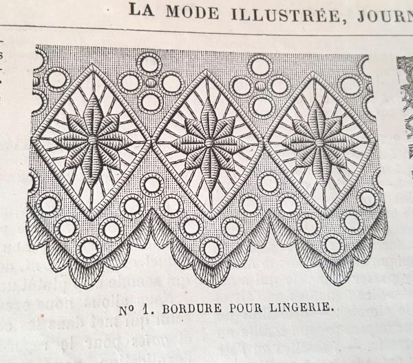 Bordure pour lingerie, La Mode Illustrée, 17 octobre 1880