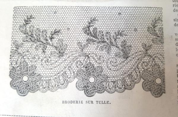 Broderie sur tulle, La Mode Illustrée, 19 décembre 1880