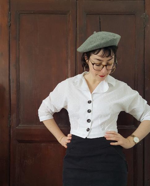 chemisier années 1950 en coton plumetis blanc