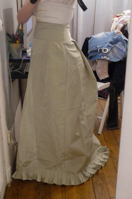 jupe de dessous 1880 en taffetas vert