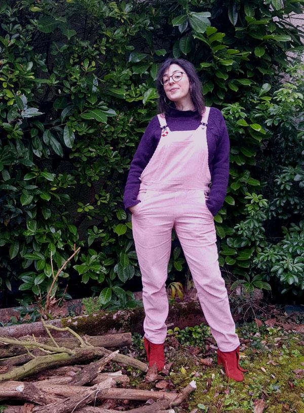salopette Danielle en velours côtelé rose pâle marque République du Chiffon