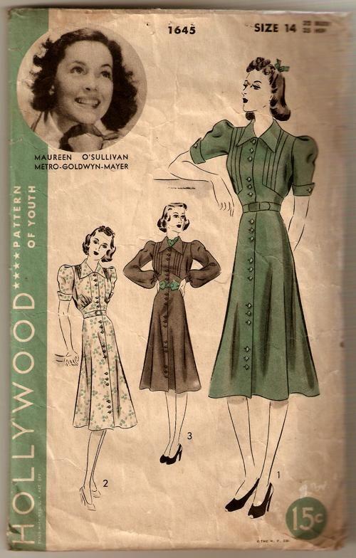 patron de couture robe 1938