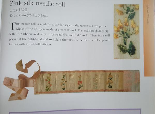 pink silk needle roll circa 1820