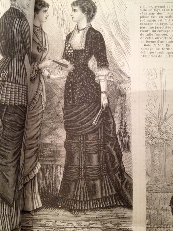 Robe de faille et velours février 1880 La Mode Illustrée