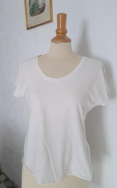 T-shirt Dressed blanc col rond