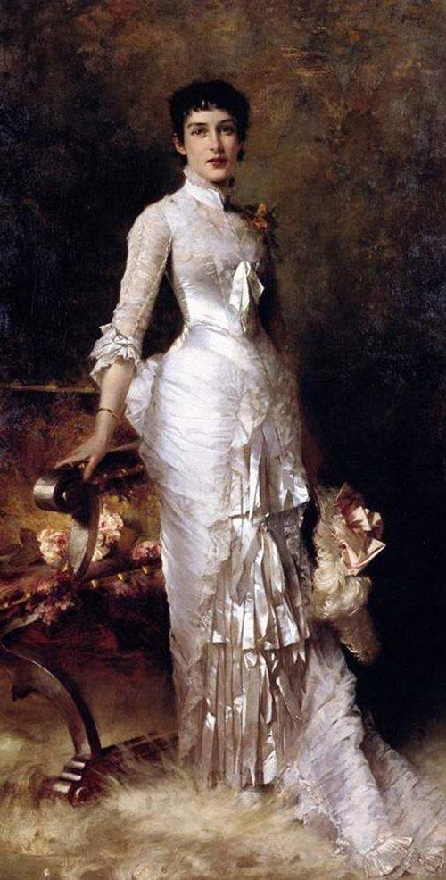 peinture de Julius Leblanc Stewart, Young Beauty in a White Dress