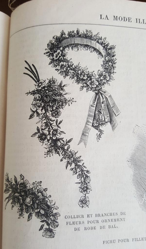 Fleurs d'ornement pour toilette de bal, La Mode Illustrée, 5 décembre 1880