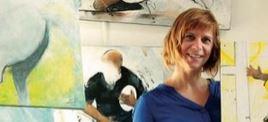 Lucie LLONG, artiste peintre du mouvement peint le rugby