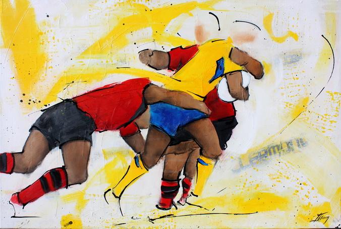 Art sport rugby : Peinture sur toile de la finale de TOP 14 2017 opposant le RCT (Rugby Club Toulonnais) à l'ASM Clermont Auvergne pour la conquête du bouclier de Brennus