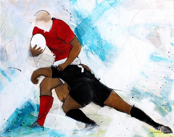 Art Sport Rugby : Peinture sur toile d'un match de rugby entre le pays de galles et les All blacks