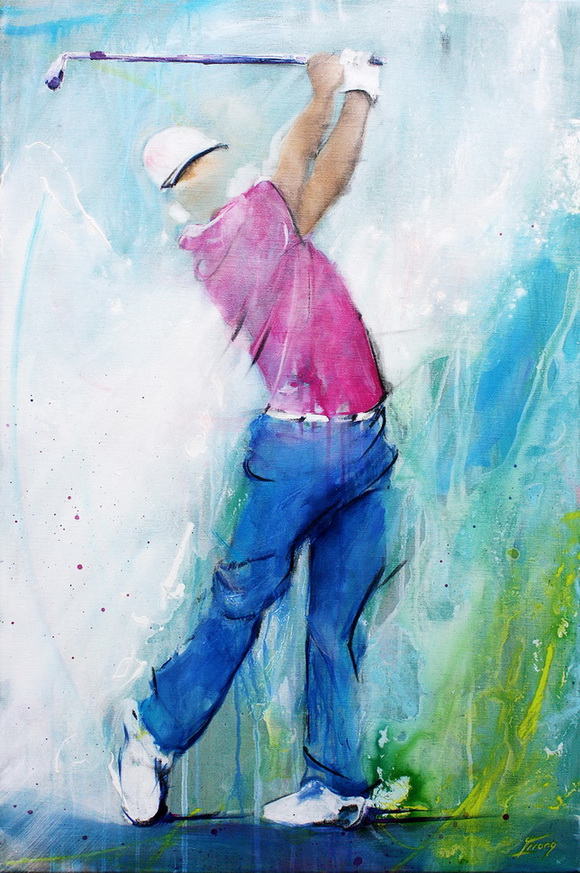 Golf painting : golf player on fairway for a birdie