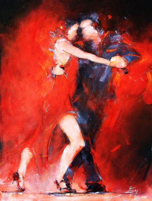 Art tableau danse tango : Peinture sur toile encadré d'un couple de danseurs dansant avec sensualité un tango argentin