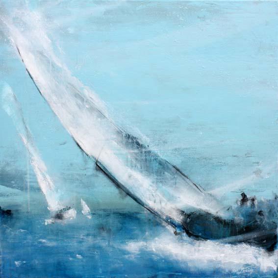 Art tableau Paysage mer regate voilier : peinture sur toile de voiliers de régate naviguant sous un vent puissant en mer méditerranée