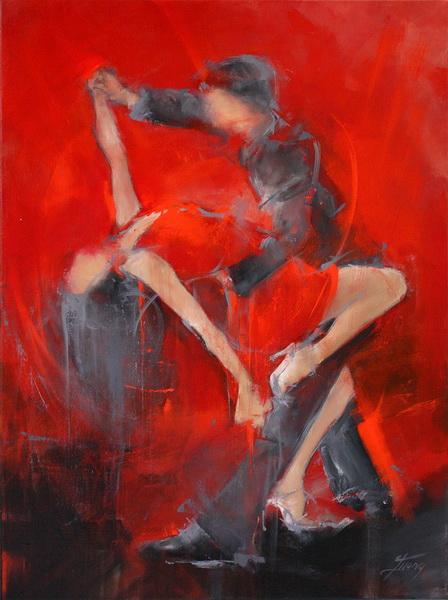 Tableau Art Danse : Peinture sur toile d'un couple dansant sensuellement le tango argentin
