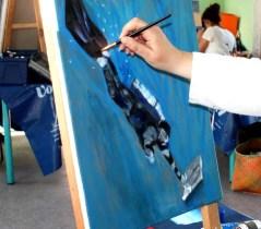 stage de peinture du mouvement animé par Lucie LLONG, artiste peintre en mars 2017 dans le Puy de Dôme en Auvergne