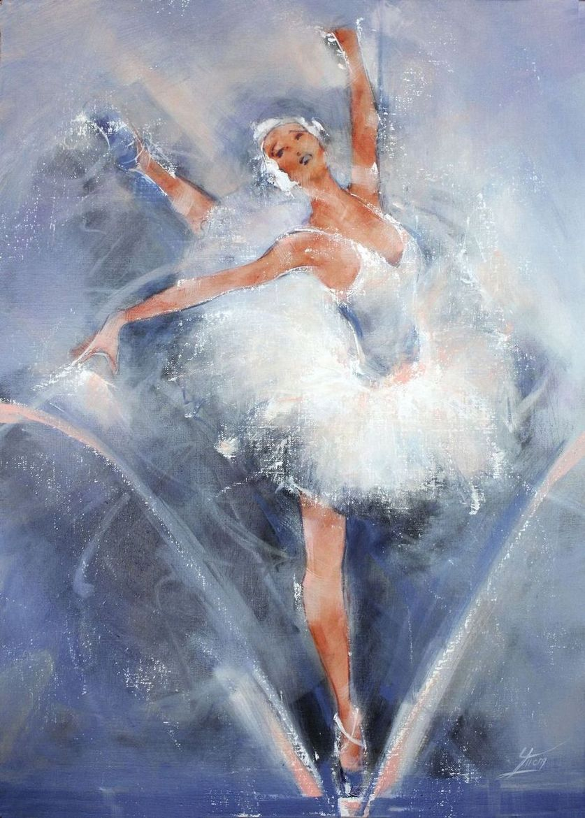 Dance and ballet painting : Elegant classic dancer performing on stage - swan lake ballet - Lucie LLONG, sport and movement painter