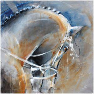 art peinture sur toile tableau sport équitation chevaux: la belle posture d'un cheval de dressage