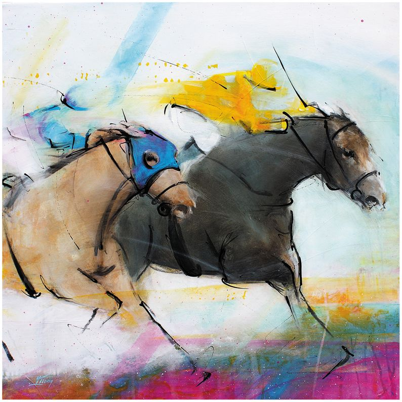 art peinture sur toile tableau sport équitation chevaux course hippique : le finish pour deux chevaux de course lors du prix de l'Arc de Triomphe