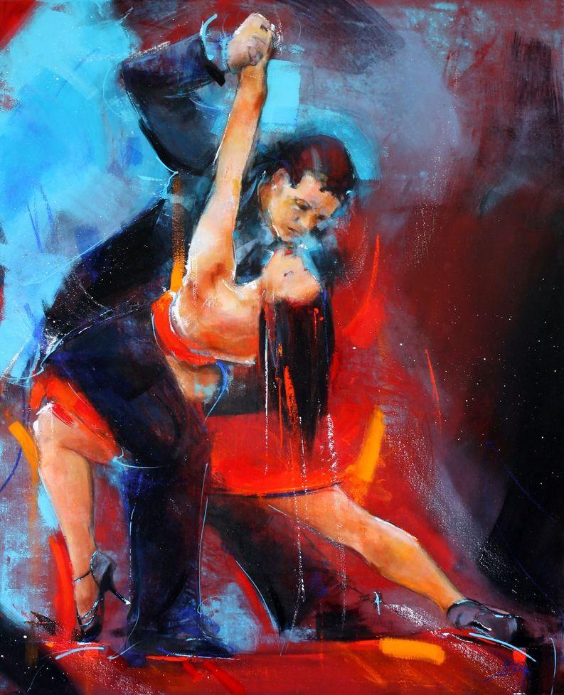 art tableau danse tango argentin : peinture sur toile d'un couple de danseurs très complices dansant sensuellement sur scène