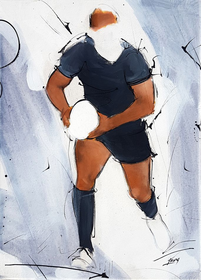art  artwork sport : rugby painting on canvas during a game at Eden Park with all blacks