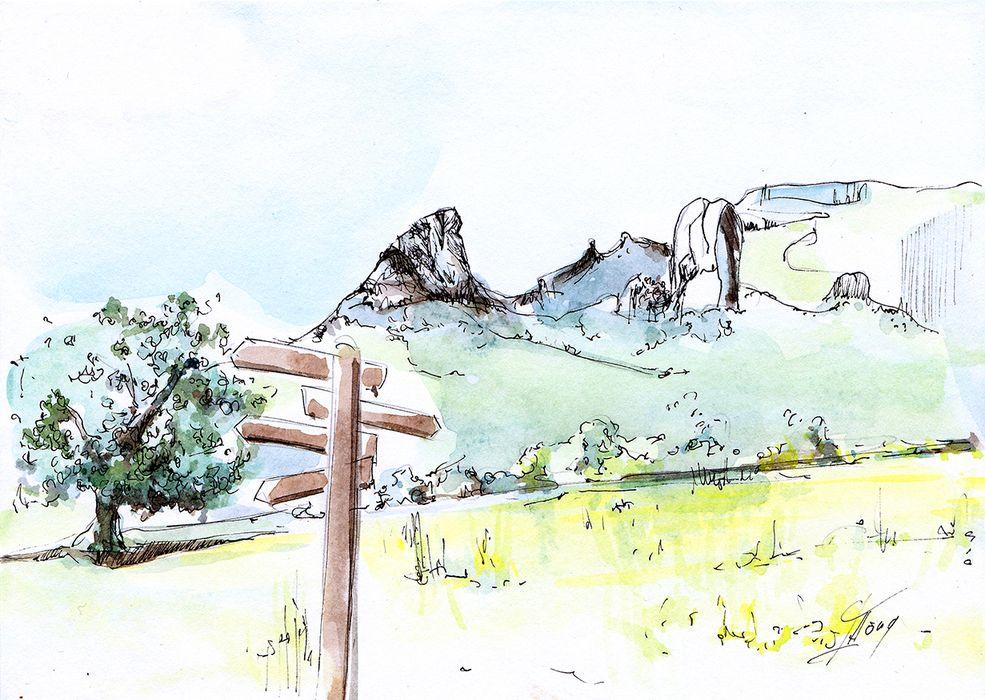 art peinture tableau aquarelle paysage d'Auvergne : la crête de coq et la dent de la rancune dans la vallée de Chaudefour
