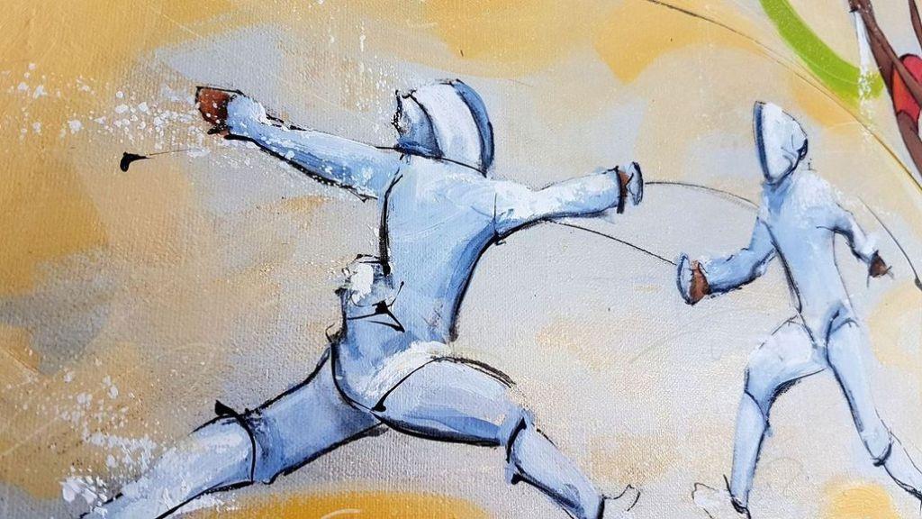 art tableau sport jeux olympiques JO Paris 2024 : détail d'une peinture sur toile sur l'escrime