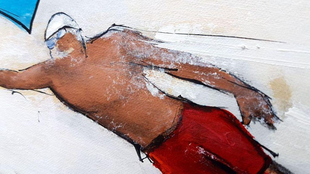 art tableau sport jeux olympiques JO Paris 2024 : détail d'une peinture sur toile sur la natation (crawl)