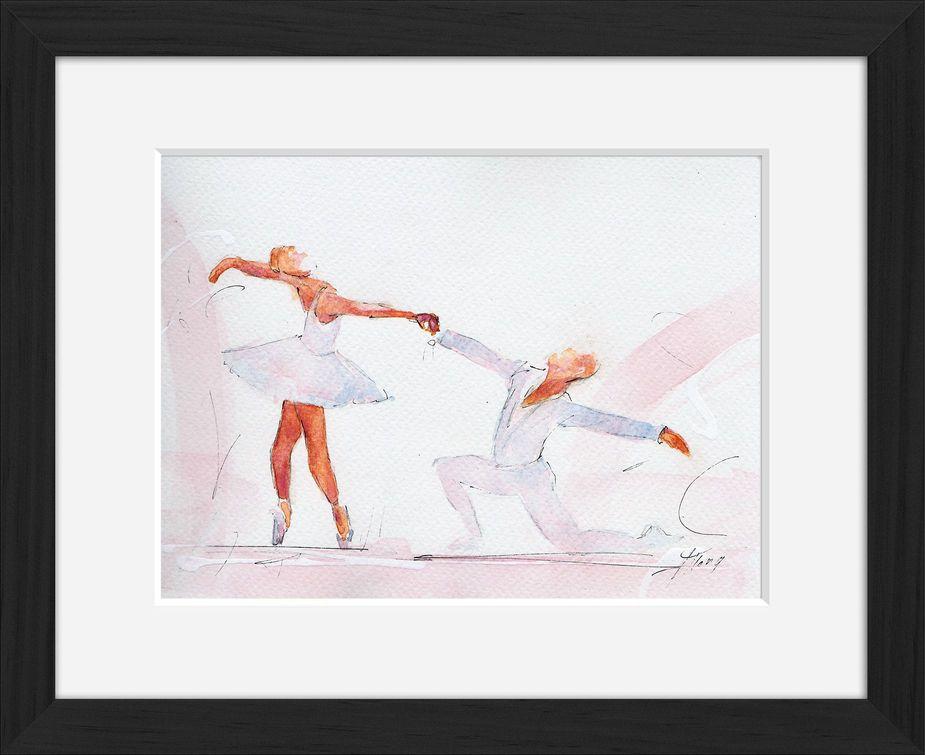 Peinture art et sport à l'aquarelle ballet : tableau avec cadre d'un couple de danseurs classiques en pleine chorégraphie