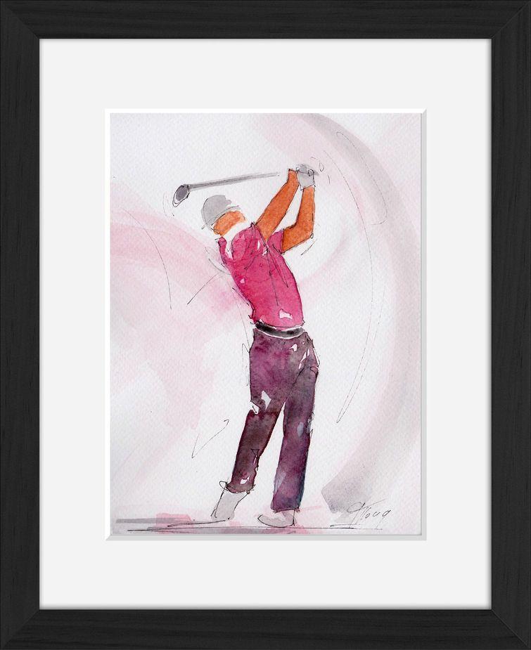 Peinture art et sport à l'aquarelle golf : tableau avec cadre d'un golfeur utilisant un driver
