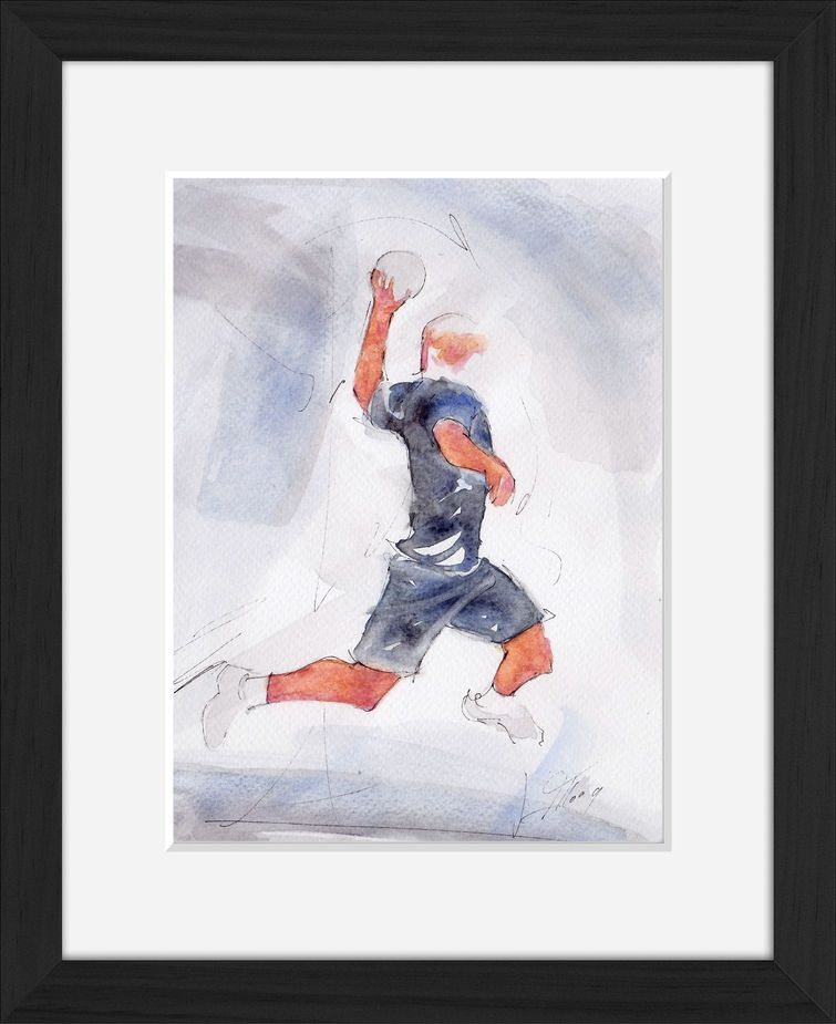 Framed handball watercolor painting by Lucie LLONG, sport painter