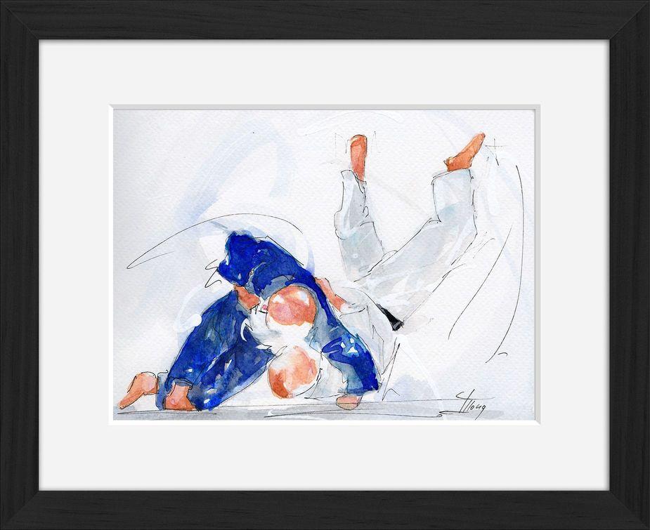 Peinture art et sport à l'aquarelle judo : tableau avec cadre d'un judoka