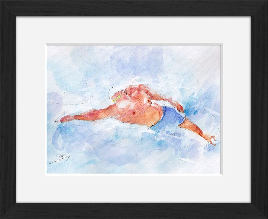 Framed swimming watercolor painting by Lucie LLONG, sport painter