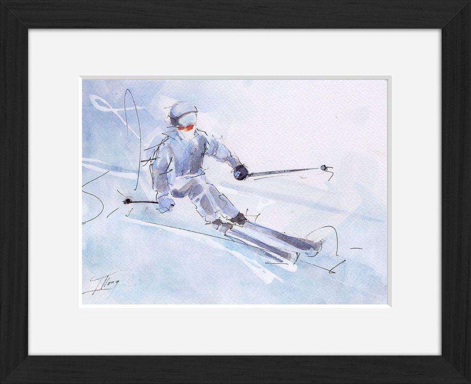 Peinture art et sport à l'aquarelle ski : tableau avec cadre d'un skieur sur une pente enneigée