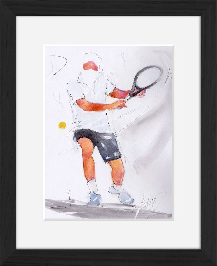 Peinture d'art et sport à l'aquarelle : tableau avec cadre d'un joueur de tennis prêt à frapper la balle en revers