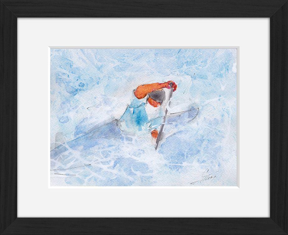 Art peinture aquarelle avec cadre sport canoë kayak: Bordée à gauche d'un kayakiste