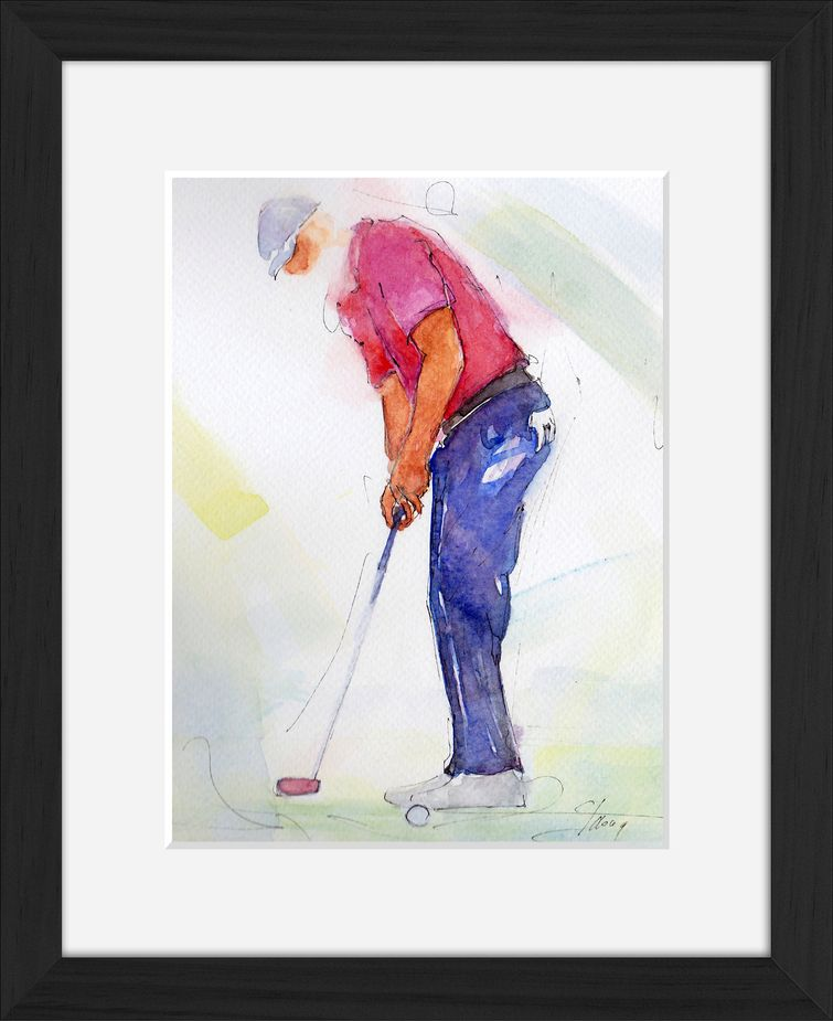 Lucie LLONG | Lucie LLONG watercolor painting on golf