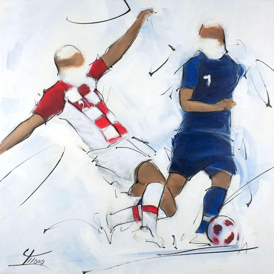 tableau de sport - football : peinture d'une action lors de la finale de la coupe du monde 2018 - France Croatie - les bleus sont champions du monde