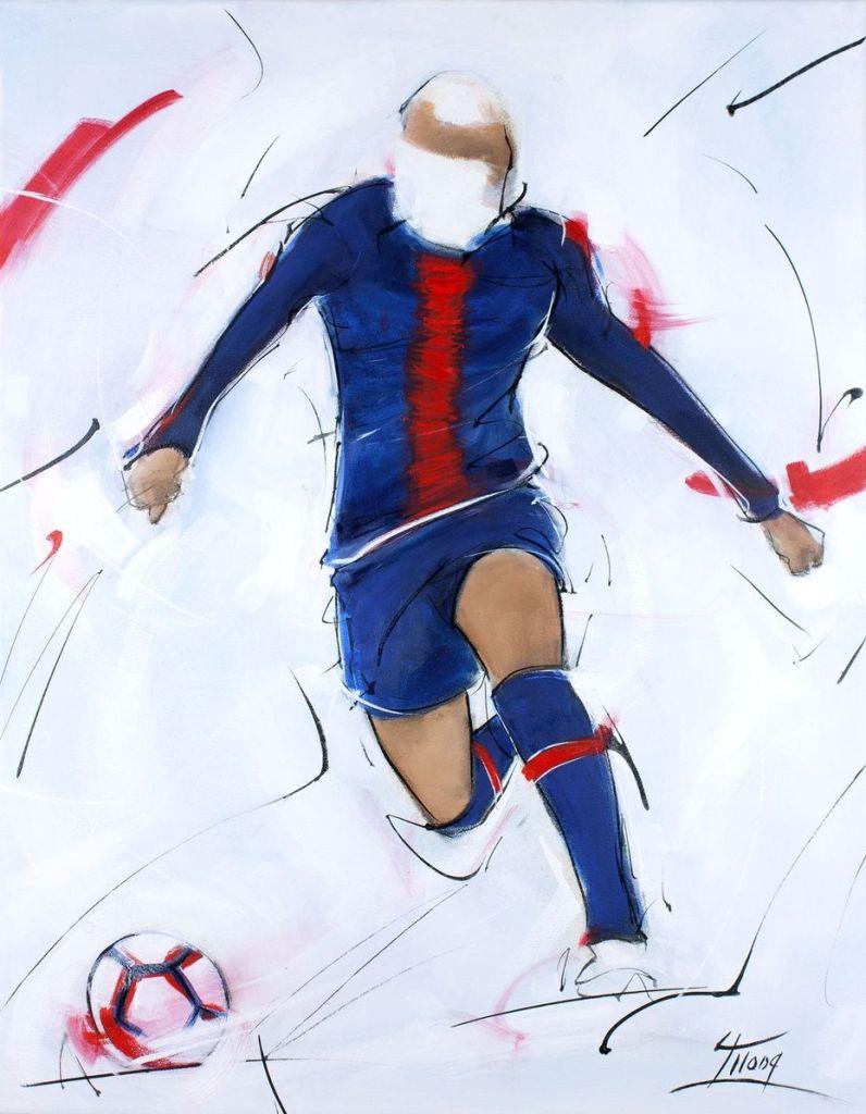 Football painting : killian Mbappé run for a goal