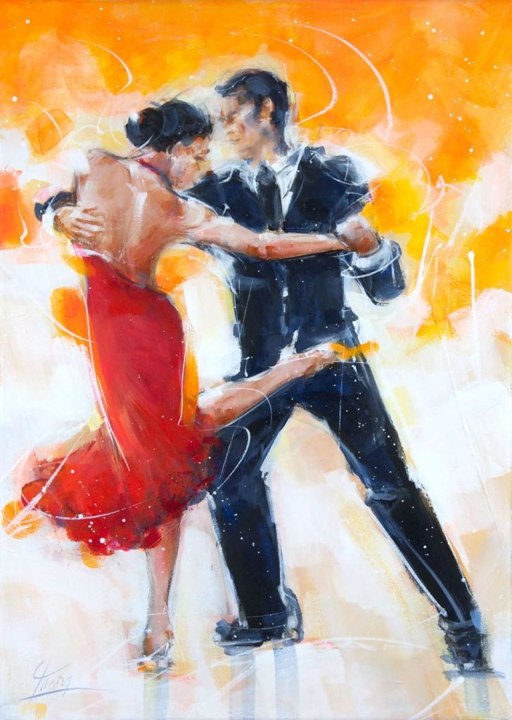 art painting dance tango : tango dancers