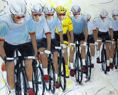 Sport cyclisme Tour de France : peinture sur toile du maillot jaune et de son équipe à l'avant du peloton