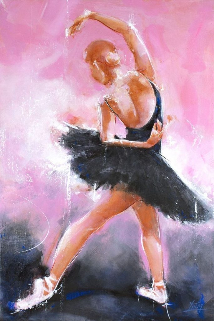 Art - Peinture danse de ballet : la magie envoutante du lac des cygnes de Tchaïkovski représenté par Odile - le cygne noir par Lucie LLONG, artiste peintre du mouvement