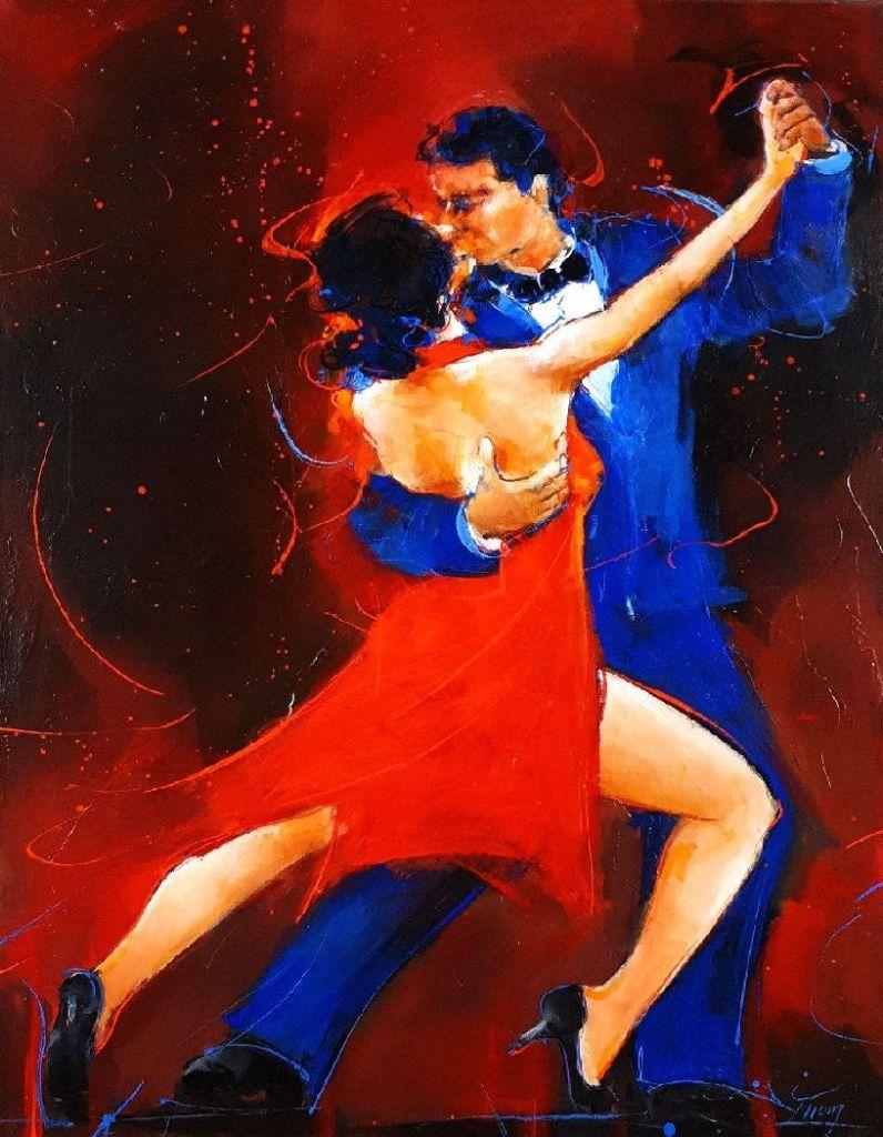 art peinture danse tango : tableau d'un couple de tango par Lucie LLONG, artsite peintre du mouvement