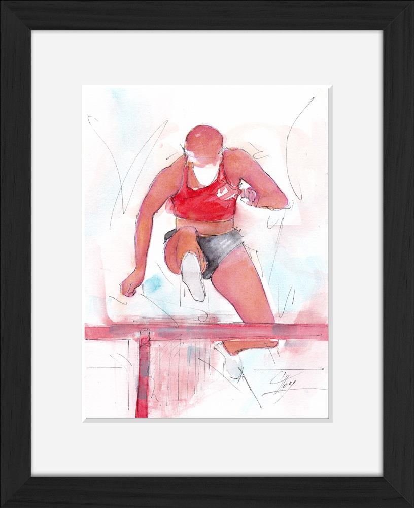Athlétisme : Peinture à l'aquarelle d'une course de saut de haies