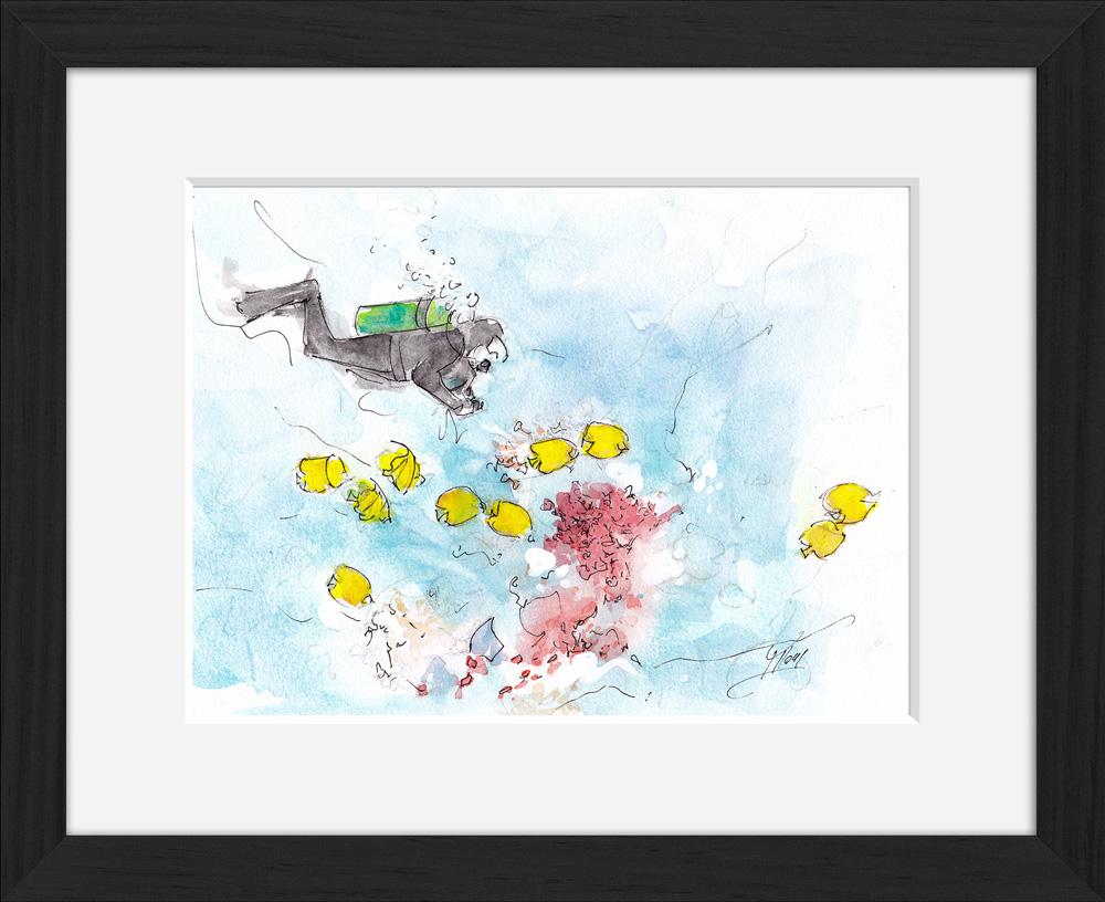 Plongée : peinture à l'aquarelle encadrée d'une plongée sur les récifs coralliens