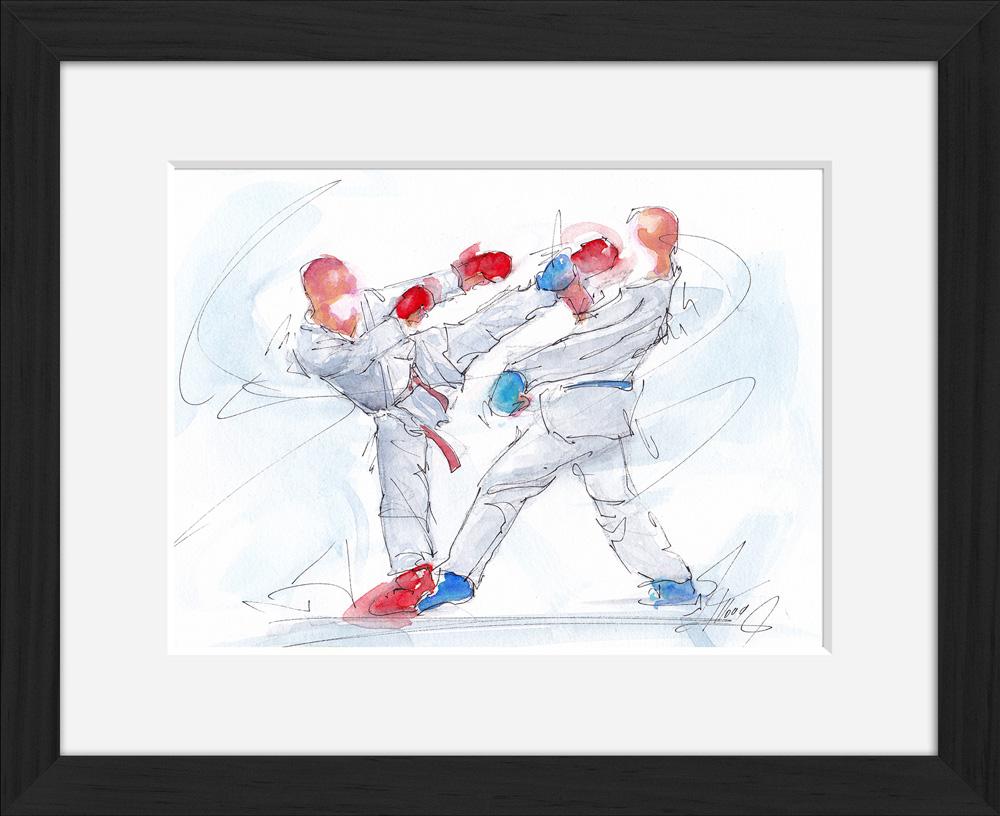 Karaté : peinture à l'aquarelle de karaté encadrés -Arts martiaux