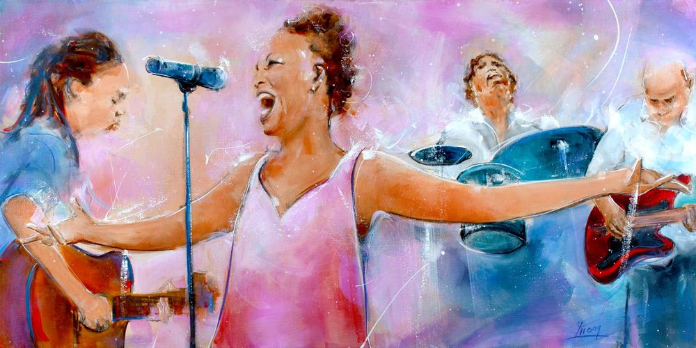 La chanteuse Lisa Simone et son groupe de musiciens en peinture par Lucie LLONG, artiste peintre du mouvement