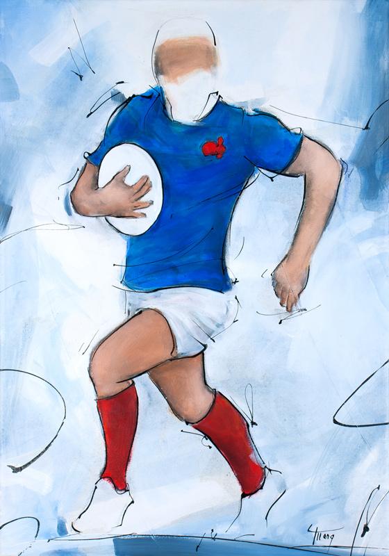 Art | peinture rugby | un joueur du XV de France par Lucie LLONG, artiste du mouvement et du sport