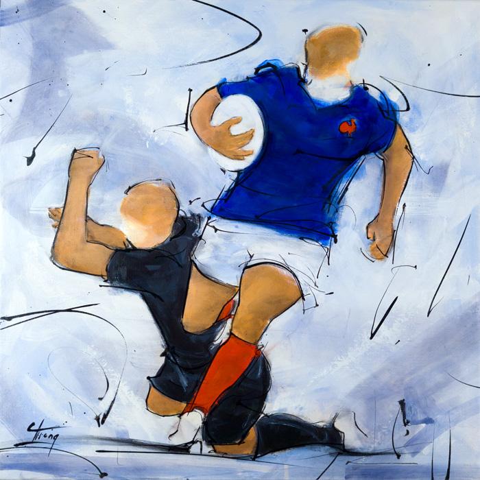 Art | peinture sur toile de rugby | un joueur du XV de France face aux All Blacks de Nouvelle Zélande par Lucie LLONG, artiste du mouvement et du sport