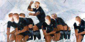 Peinture rugby : les joueurs all blacks pendant le Haka - Kapa O Pango - Lucie LLONG, artiste peintre du mouvement et du sport -
